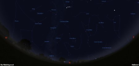 Displaying the night sky midway through the month, this image can help you identify the constellations you'll see in the northern sky in December (click to enlarge) – Credit: Sky-Watching/Stellarium