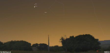 Planets Mars and Venus are visited by the waxing crescent Moon this evening, look low towards the West soon after sunset (click to enlarge) - Credit:Sky-Watching/Stellarium