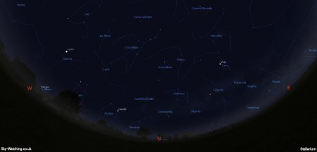 Displaying the night sky midway through the month, this image can help you identify the constellations you'll see in the northern sky in April (click to enlarge) – Credit: Sky-Watching/Stellarium