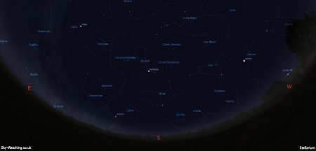 Shown at 00:00 UTC (01:00 BST) on 16th April, both these images are a handy guide for the whole month. This is the view you'll get looking South (click to enlarge) – Credit: Sky-Watching/Stellarium