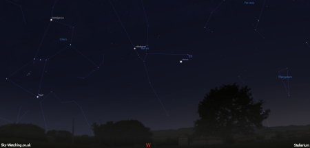 Look low to the west soon after sunset and you can't fail to spot Venus near the fainter but equally beautiful Pleiades cluster, shown above at 20:00 UTC / 21:00 BST (click to enlarge) Credit: Sky-Watching/Stellarium