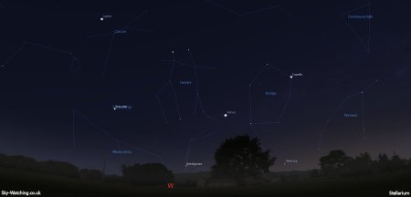 Mercury is notoriously difficult to image, but if we can get to somewhere with a flat horizon we'll be trying to image this cosmic line up (click to enlarge) - Credit: Sky-Watching/Stellarium