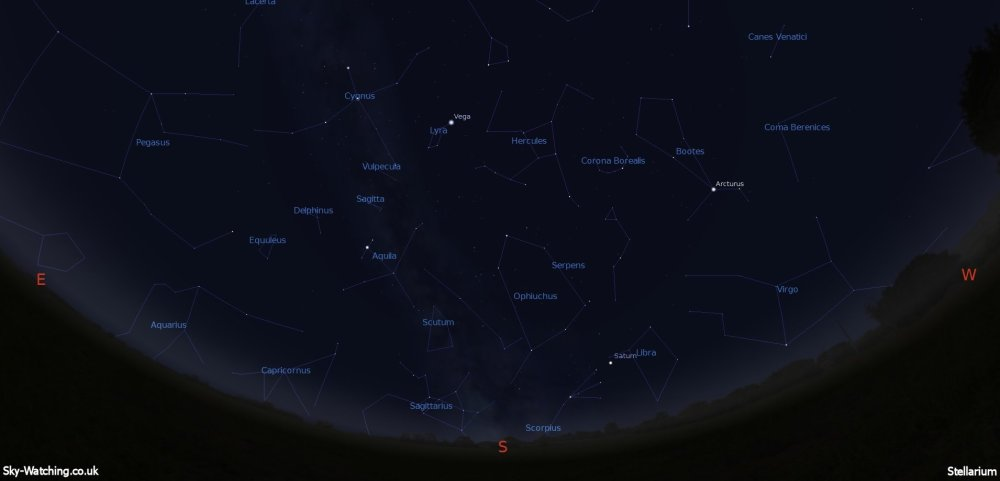Shown at 00:00 UTC (01:00 BST) on 16th June, both these images are a handy guide for the whole month. This is the view you'll get looking South (click to enlarge) – Credit: Sky-Watching/Stellarium