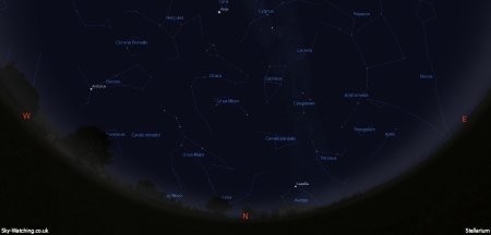Displaying the night sky midway through the month, this image can help you identify the constellations you'll see in the northern sky in June (click to enlarge) – Credit: Sky-Watching/Stellarium