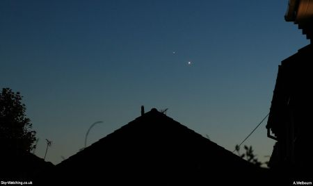 Venus got closer to Jupiter all throughout June, this photo was taken on 29th June using a Canon Eos 550D (click to enlarge) - Credit: Sky-Watching/A.Welbourn