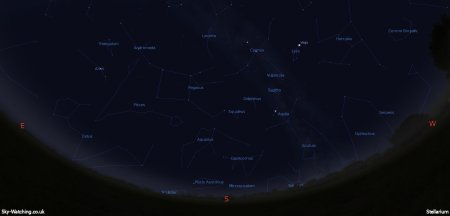 Shown at 00:00 UTC (01:00 BST) on 16th August, both these images are a handy guide for the whole month. This is the view you'll get looking South (click to enlarge) – Credit: Sky-Watching/Stellarium