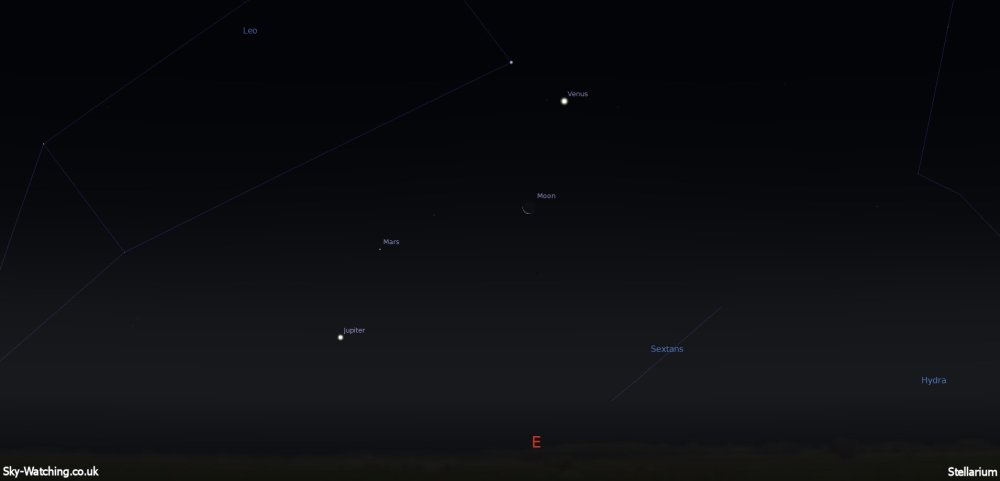 Shown at 03:30 UTC (04:30 BST) the waning crescent Moon will have some planetary near neighbours this morning (click to enlarge) - Credit: Sky-Watching/Stellarium