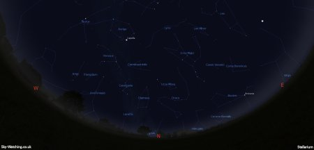 Displaying the night sky midway through the month, this image can help you identify the constellations you'll see in the northern sky in January (click to enlarge) – Credit: Sky-Watching/Stellarium