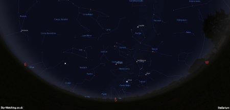 Shown at 00:00 UTC on 16th January, both these images are a handy guide for the whole month. This is the view you'll get looking South (click to enlarge) – Credit: Sky-Watching/Stellarium