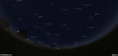Displaying the night sky midway through the month, this image can help you identify the constellations you'll see in the northern sky in February (click to enlarge) – Credit: Sky-Watching/Stellarium