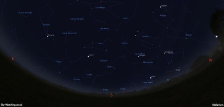 Shown at 00:00 UTC on 15th February, both these images are a handy guide for the whole month. This is the view you'll get looking South (click to enlarge) – Credit: Sky-Watching/Stellarium