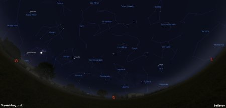 Displaying the night sky midway through the month, this image can help you identify the constellations you'll see in the northern sky in March (click to enlarge) – Credit: Sky-Watching/Stellarium
